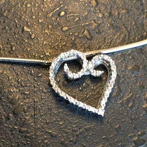 Jewelry - Diamond 925 Sterling Silver Heart Pendant Necklace